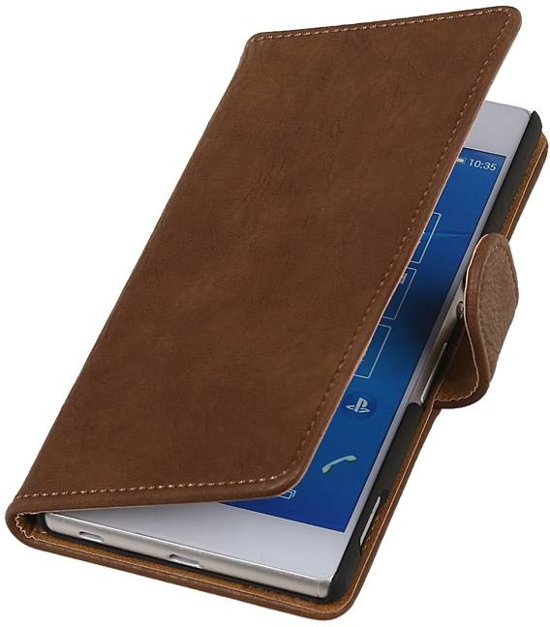 Wicked Narwal | Bark bookstyle / book case/ wallet case Hoes voor sony Xperia Z4 Z3+ Bruin