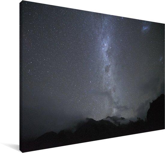 Sterrenhemel boven het Nationaal park Westland Tai Poutini in Oceanië Canvas 60x40 cm - Foto print op Canvas schilderij (Wanddecoratie woonkamer / slaapkamer)