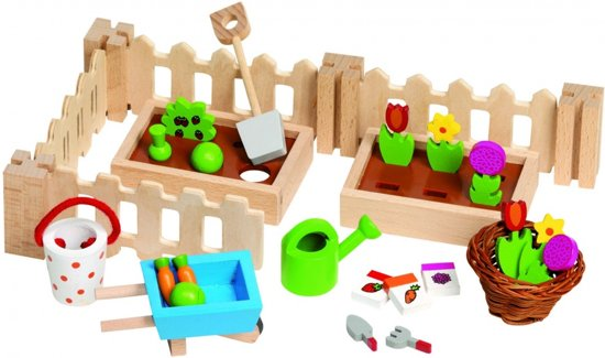 Goki Houten poppenhuis tuintje met accessoires