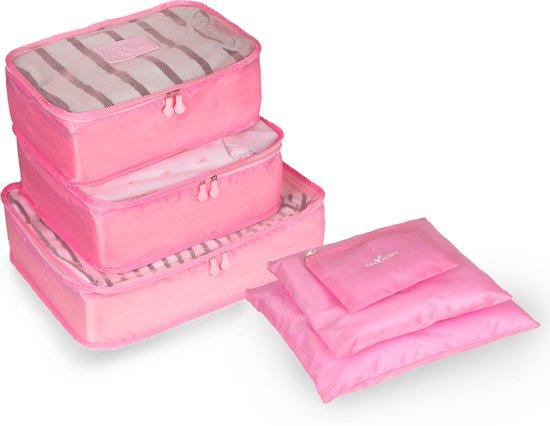TravelSky Packing Cubes Set - Koffer Bagage Organizer - Inpak Kubussen - Pack Compression Cubes - Travel Bag Ordening - Reis Accessoires - Tas Opbergzakken - 6 Stuks - Roze