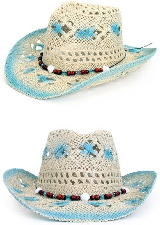1d221311fe8d76 Stetson hoed crazy summer met decoratie blauw/wit