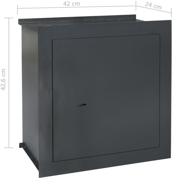 vidaXL Wandkluis 42x24x42,6 cm donkergrijs