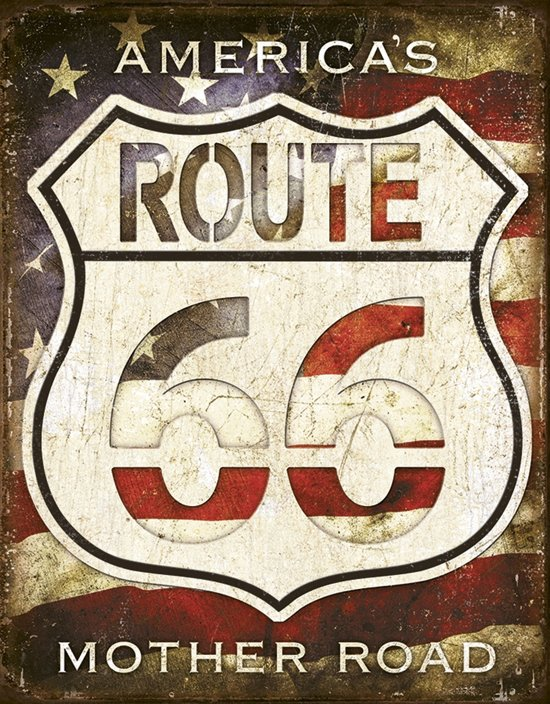 Signs-USA America's Mother Road - Route 66 - Retro Wandbord - Metaal - 40x30 cm