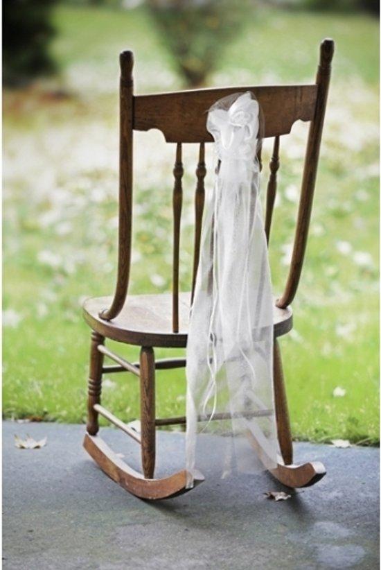 Bruiloft stoel decoratie met organza huwelijk - Decoratie afbeelding ...