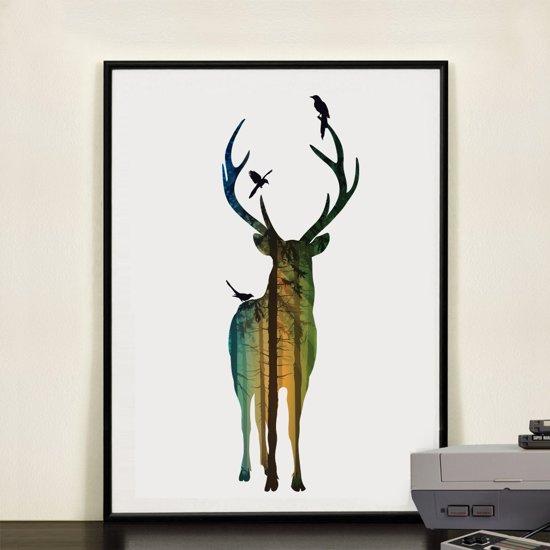 Postercity - Design Canvas Poster Hert in het Gekleurde Bos / Kinderkamer / Muurdecoratie / 40 x 30cm / A3