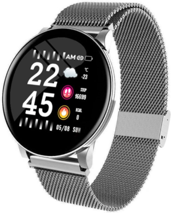 Nieuwjaar 2020 aanbieding met flinke korting! - Smartwatch - zilver - staal - kleurenscherm -  1,3 inch - stappenteller - bloeddrukmeter - verbrande calorieen - 3x sportmodes - GRATIS zonnebril van Belesy cadeau.