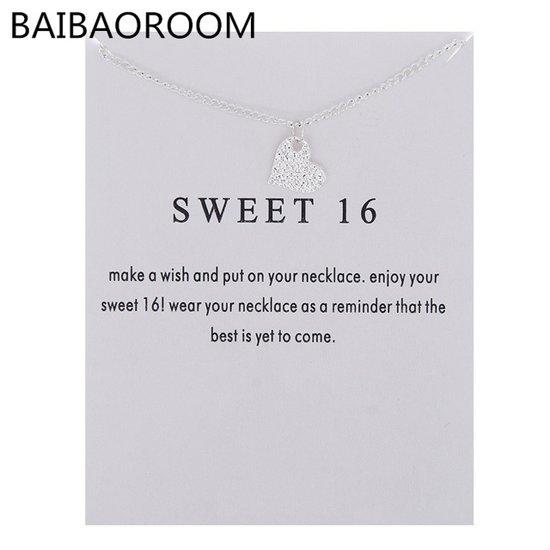 Sweet 16 Ketting Cadeau Voor 16e Verjaardag Zilverkleur Hartje Ketting