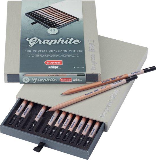 Design Graphite box 12 grafietpotloden diverse hardheden 2H t/m 9B
