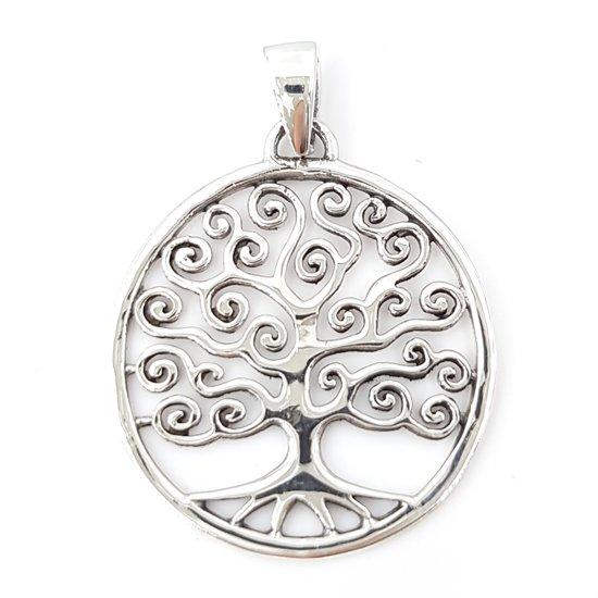 Zilveren hanger levensboom 28 mm - 925 zilver