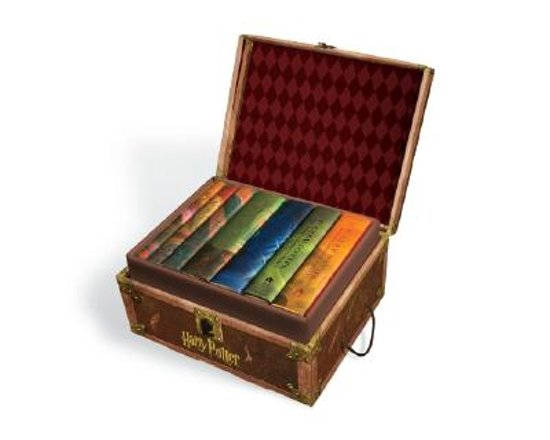 Harry Potter BOX SET Treasure Chest Trunk Hardcover Books 1 - 7 Sticker RARE Lot