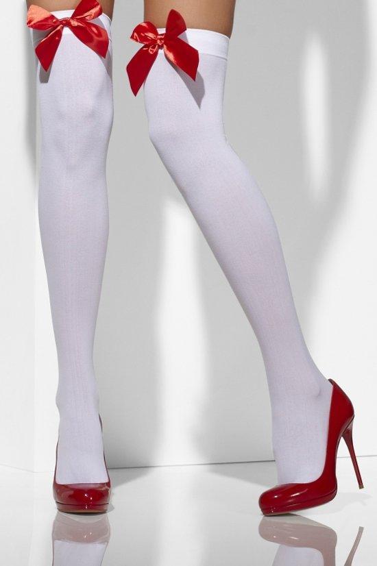 Kniekousen wit met rode strik