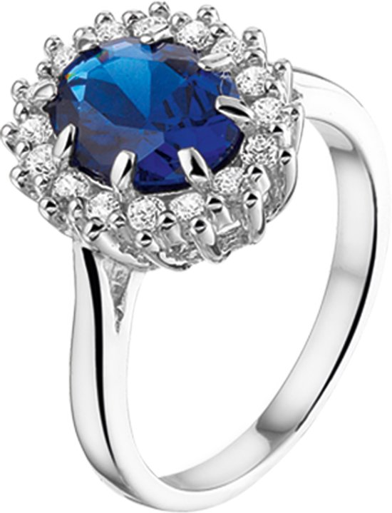 The Jewelry Collection Ring Zirkonia En Synthetische Saffier - Zilver Gerhodineerd