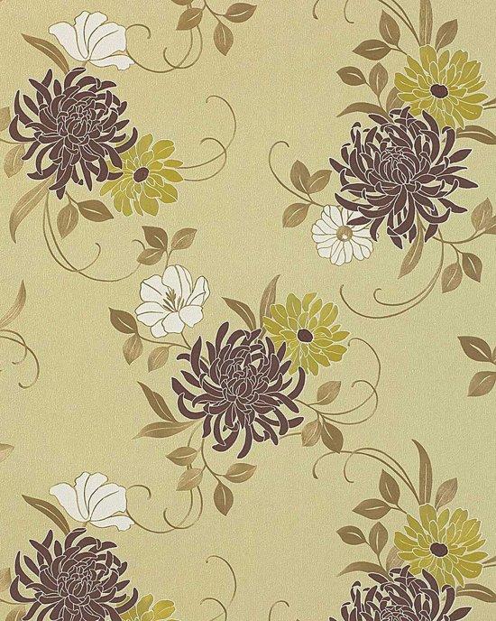 Exclusief behang bloemen EDEM 824-28 behang chrysanten ivoorkleurig bruin groen brons wit   70 cm