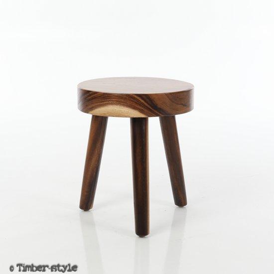 Houten kruk Driepoot - rond - gelakt - 35 x 35 x 40 cm.