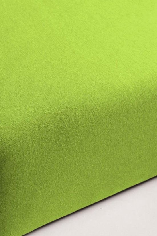 Hoeslaken 100% FLANEL kleur  LIME 150 x 200 hoek 30 cm