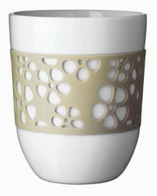Qdo Beker Porselein Dubbelwandig Siliconen Bloemmotief Set van 2 Stuks