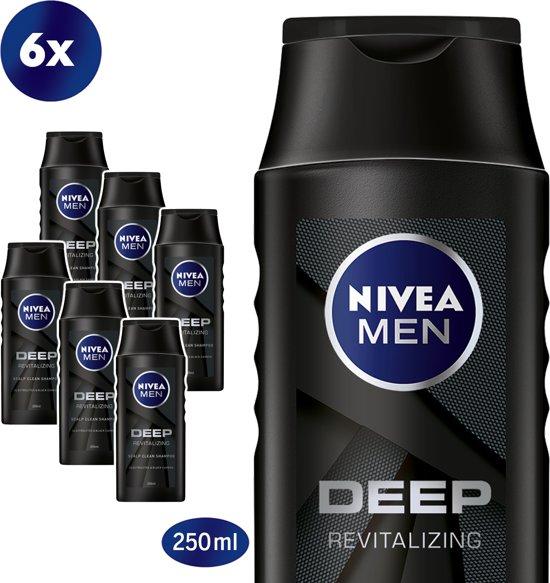 NIVEA MEN Deep Shampoo - 6 x 250 ml - Voordeelverpakking