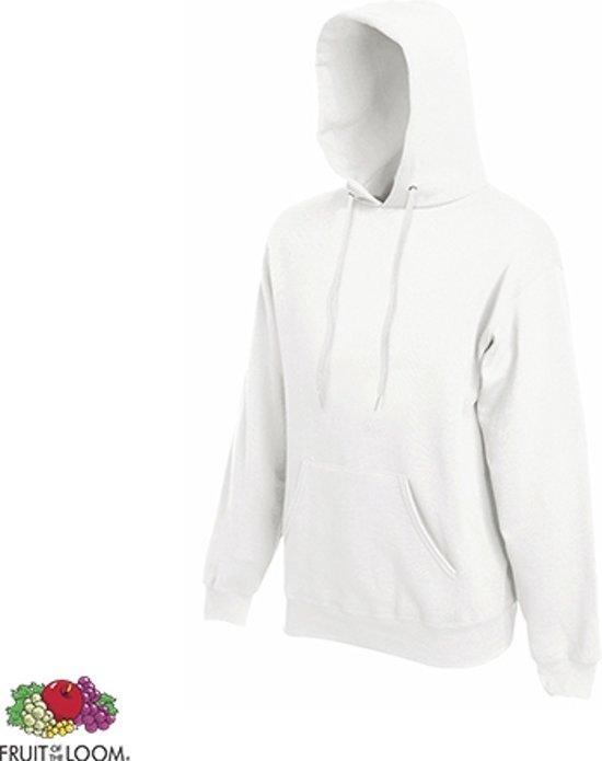 Fruit of the Loom Hoodie Wit Maat S dubbellaagse capuchon