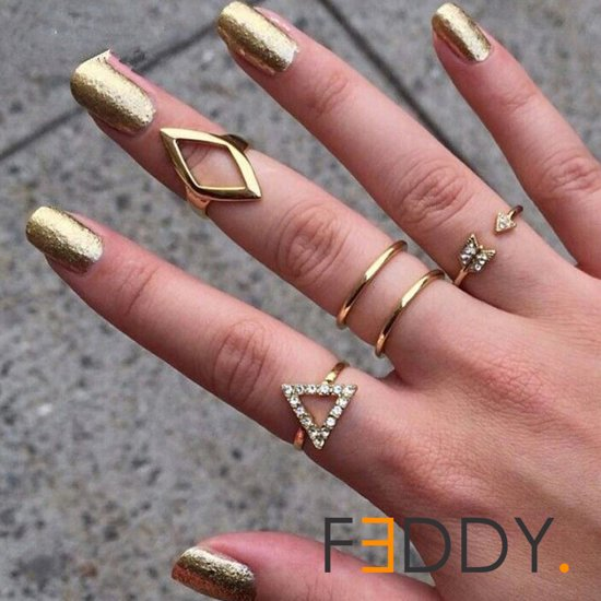 5 delige ringen set geometrische vormen goud kleur