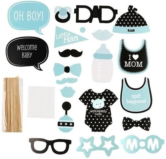 Bolcom Ibello Babyshower Jongen Boy Party Prop Set Photo Booth
