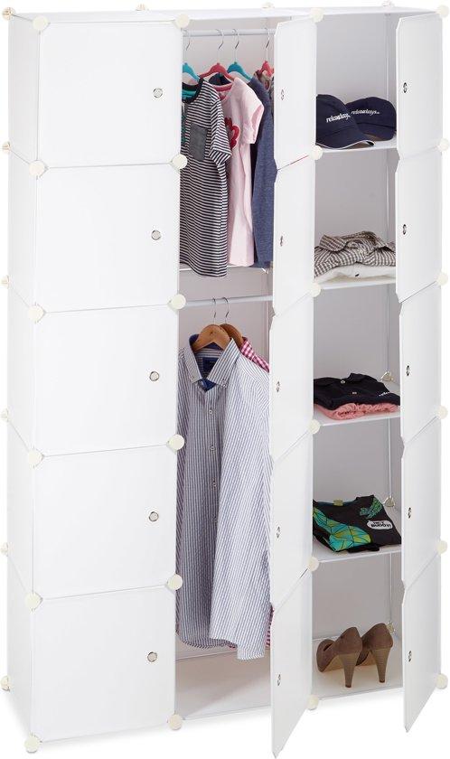 relaxdays kledingkast kliksysteem - 11 vakken - 2 kledingroedes - DIY garderobe wit