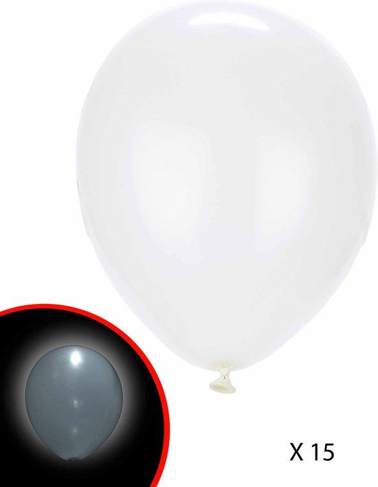 15 witte LED ballonnen Illooms® - Feestdecoratievoorwerp