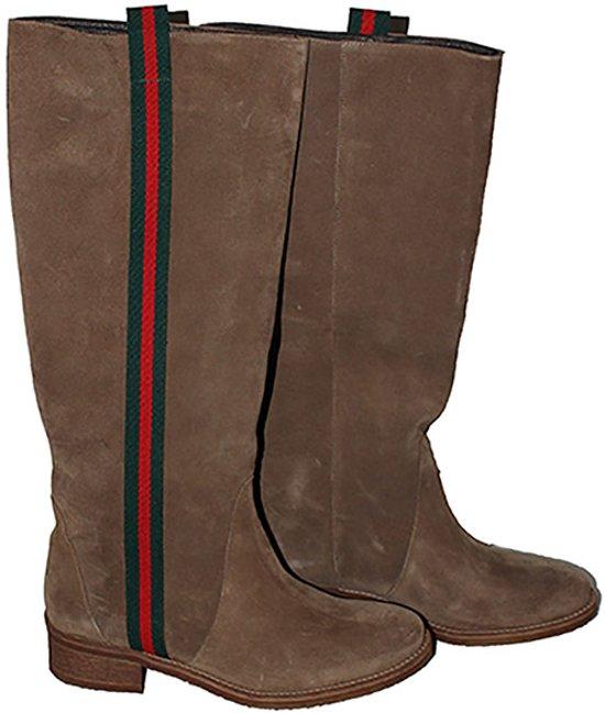 c7de0c486bd Laarzen | Handgemaakt | Suéde | Kleur bruin | met Gucci streep | maat 35