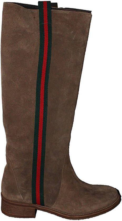 cfe4676e942 bol.com | Laarzen | Handgemaakt | Suéde | Kleur bruin | met Gucci streep |  maat 35