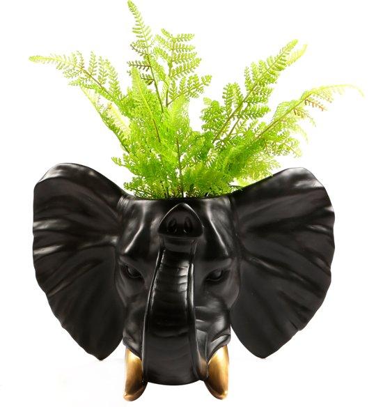 Walplus Olifant Bloempot - Wanddecoratie - Zwart/Goud