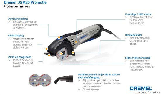Dremel Compact gereedschap-systeem SM20KH (Model SM20KH, DSM20 + 2 DSM500 acc. + adapter voor stofafzuiging + koffer)