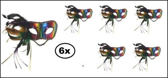 6x Oogmasker Regenboog Pisa luxe