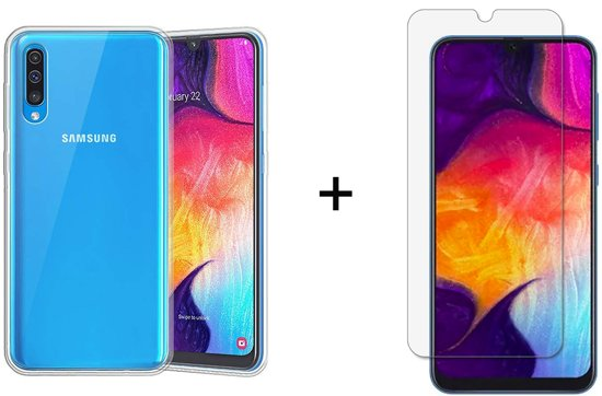 Samsung Galaxy A50 Hoesje Siliconen Transparant - 1 x Tempered Glass Screenprotector