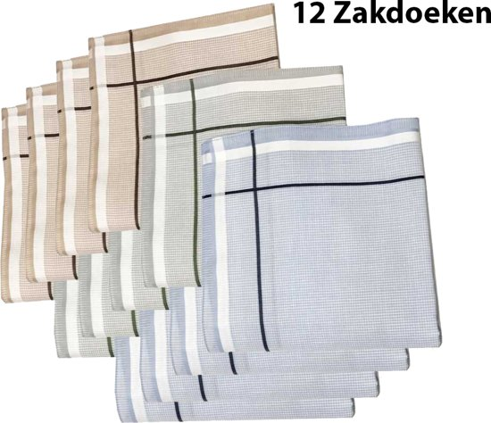 Zakdoeken - Heren - 12 zakdoeken - cadeauset - heren zakdoeken - 8