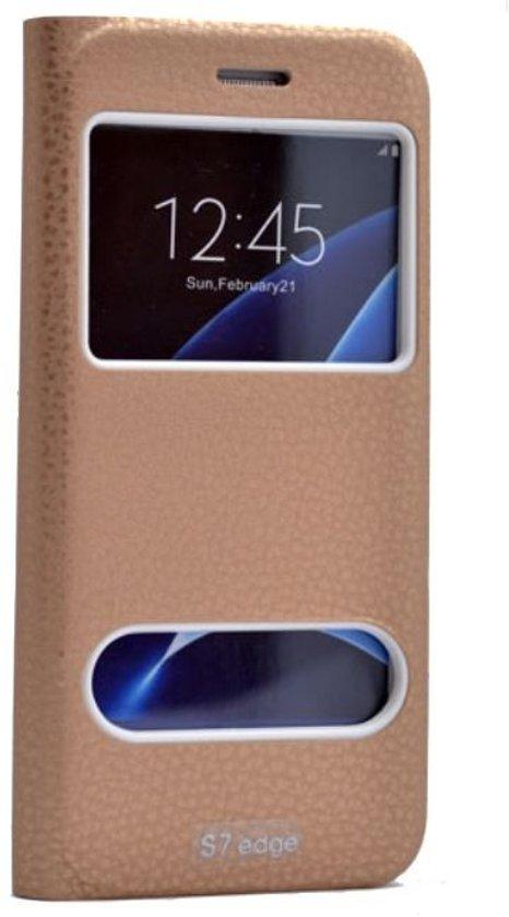Teleplus Samsung Galaxy S7 Edge New Double Window Case Gold hoesje