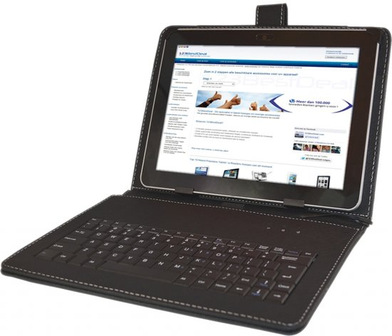 Keyboard Case voor de Prestigio Multipad 10.1 Ultimate 3g, QWERTY Toetsenbordhoes, Rood, merk i12Cover in Assen