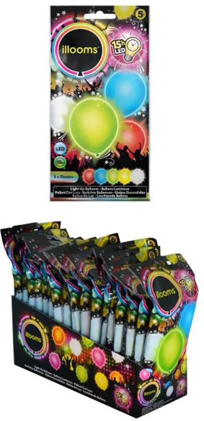 Assorti gekleurde LED ballonnen 5 stuks