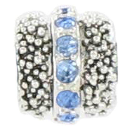 Quiges Bedel Bead - 925 Zilver - Bolletjes Patroon met Zirkonia Blauw Kraal - Z528