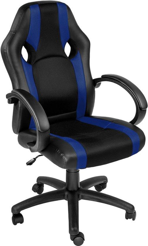 Bureaustoel Blauw Zwart.Tectake Bureaustoel Benjamin Zwart Blauw Comfortabel Racing Style 402160