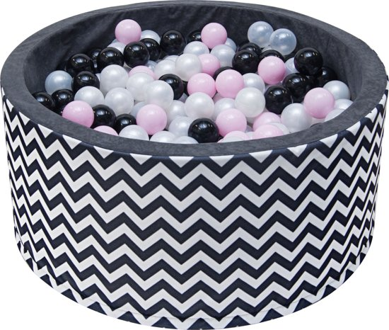Ballenbak | Wit en zwarte strepen incl.  200 witte, zwarte, grijze en roze ballen