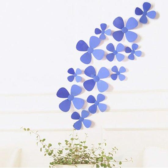 3D Bloemen - Muurdecoratie - 4 Blad Paars