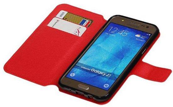 Mobieletelefoonhoesje.nl - Cross Pattern TPU Bookstyle Hoesje voor Samsung Galaxy J7 Rood in Uithoorn