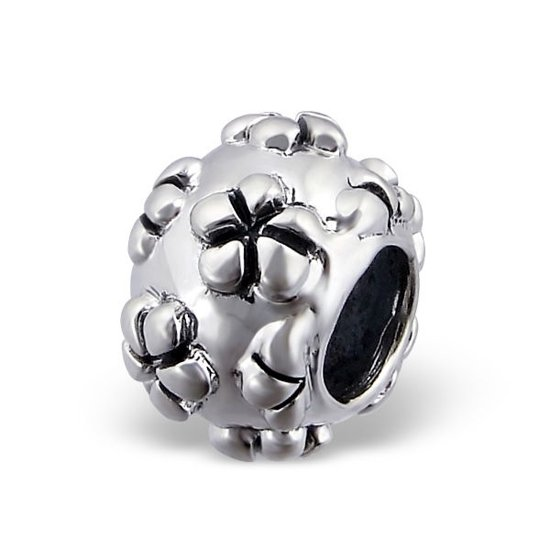 Flowers bead | Bedel | Sterling 925 Silver (Echt zilver) | Past op vele merken | Nikkelvrij