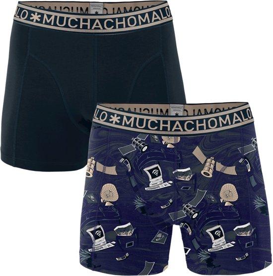 Muchachomalo Always connected Heren boxershort - 2 pack - Print/Blauw - Maat S
