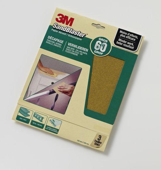 3M™ SandBlaster™ Schuurpapier vellen, 60373, Groen, 23 cm x 28 cm, P60, 3 vellen
