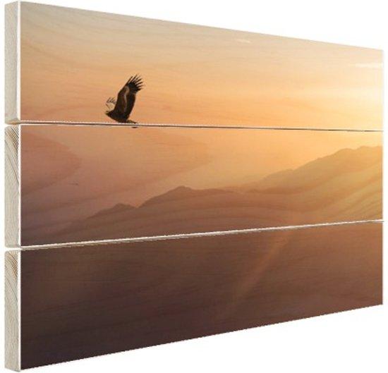 Adelaar bij zonsondergang Hout 120x80 cm - Foto print op Hout (Wanddecoratie)