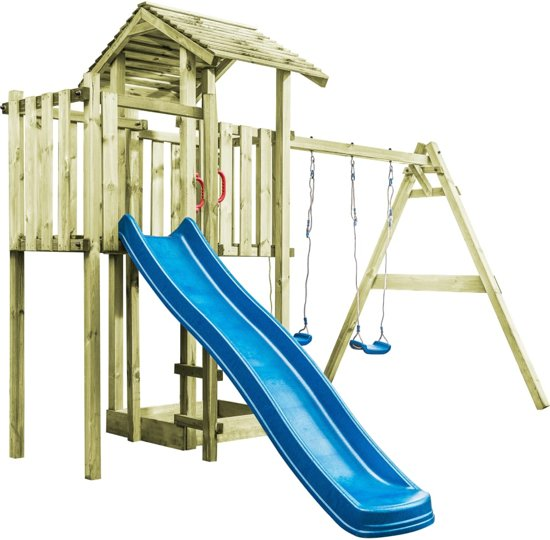vidaXL Speelhuis ladder, glijbaan en schommels 407x381x263 cm FSC hout