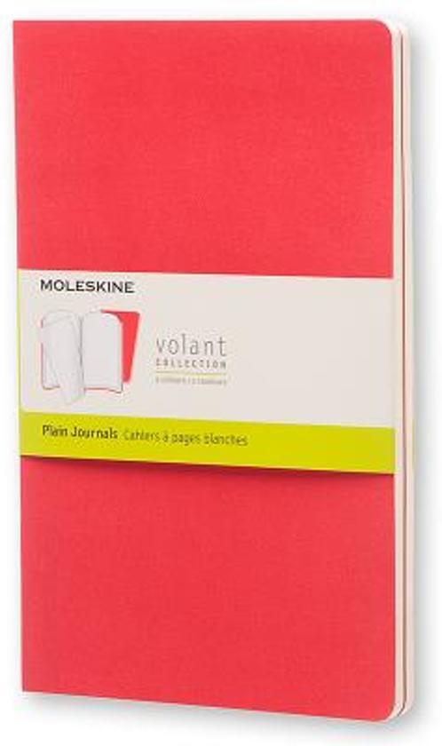 Moleskine Volant Journal (set of 2) Geranium Red/Scarlet Red large plain unruled