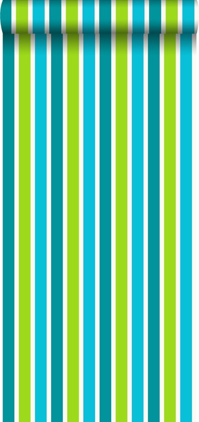 Jimbo behang streep turquoise/lime - 115817 van ESTAhome.nl