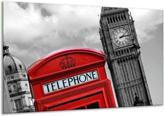 Glas schilderij Engeland, London   Zwart, Wit, Rood   120x70cm 1Luik   Foto print op Glas   F007229