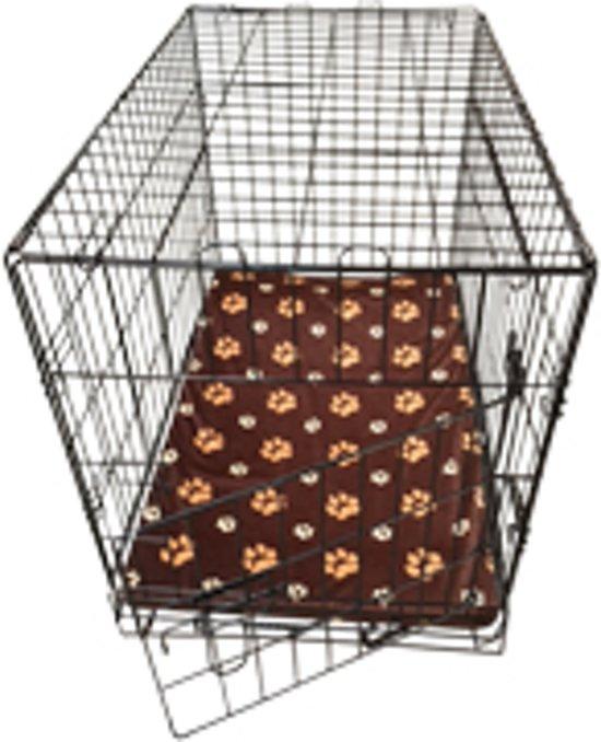 Topmast Hondenbench Bench Zwart Medium 76 * 45 * 52 cm + GRATIS Fleece benchkussen bruin